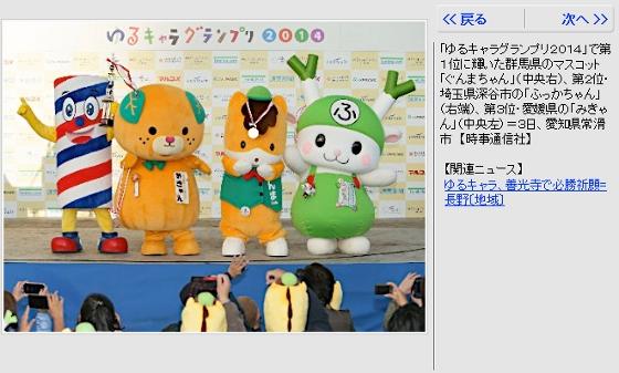 ぐんまちゃん ゆるキャラグランプリ2014 優勝
